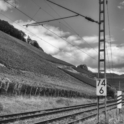 Wo die Bahn fährt, da wächst in Deutschland guter Wein - hier am Kanzemer Altenberg